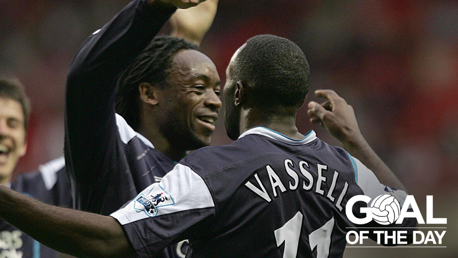 FIRST GOAL: Darius Vassell scored his first goal for City and it was a good one!