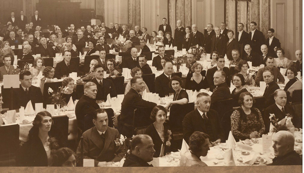 CELEBRATIONS : The dinner to celebrate the 1934 FA Cup win - Harry Clark is believed to be at the back, top left