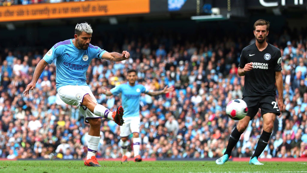 NO MISTAKE : Sergio Aguero doubles City's lead on the stroke of half-time.