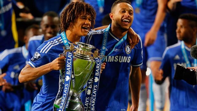 : THAT WINNING FEELING: Ake celebrates after helping Chelsea win the Premier League Under-21 final in 2014