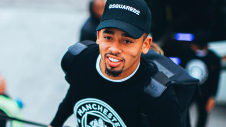 BRAZILIAN BLEND: Gabriel Jesus was in great spirits as he boarded the plane at Manchester Airport