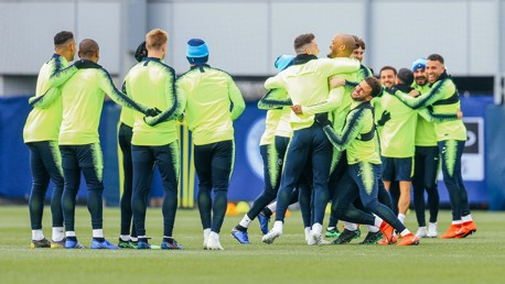 HUGS ALL ROUND: The lads get up close and personal
