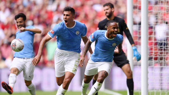 BREAKTHROUGH : Raheem Sterling celebrates scoring City's opener.