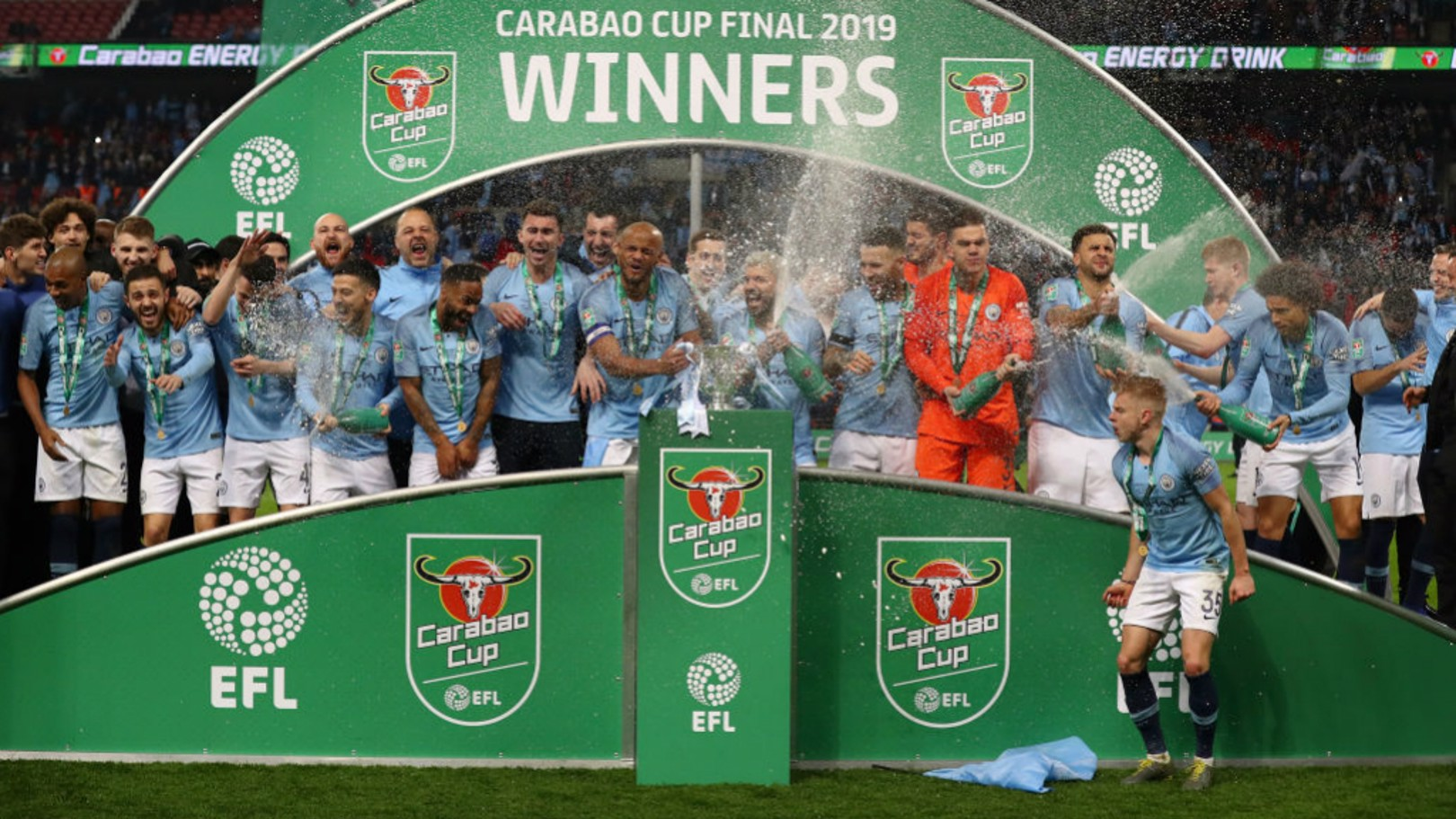 WINNERS: City lift the 2018/19 Carabao Cup at Wembley.