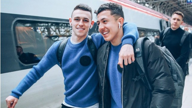 BLUES BROTHERS : Phil Foden and Ian Carlo Poveda look in relaxed mood.