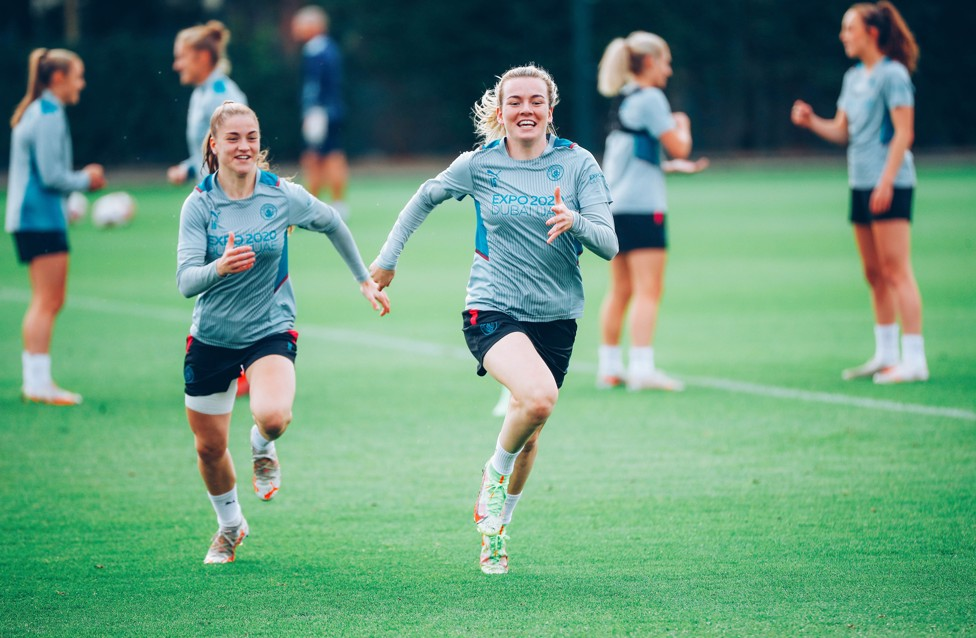 A DREAM IN MY HEART : Lauren Hemp and City fan Jess Park say they've always dreamed of playing in a Manchester Derby