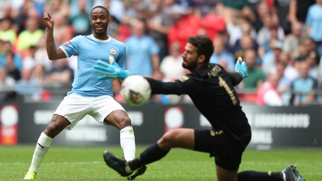 POST : Raheem Sterling goes close to doubling City's lead after the break.