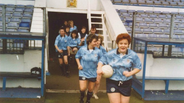 BLUE DREAMS : Heading out onto the Maine Road pitch