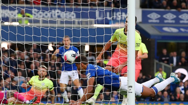 ALL SQUARE : Seamus Coleman lifts the ball over Ederson - Dominic Calvert-Lewin was later credited with the final touch