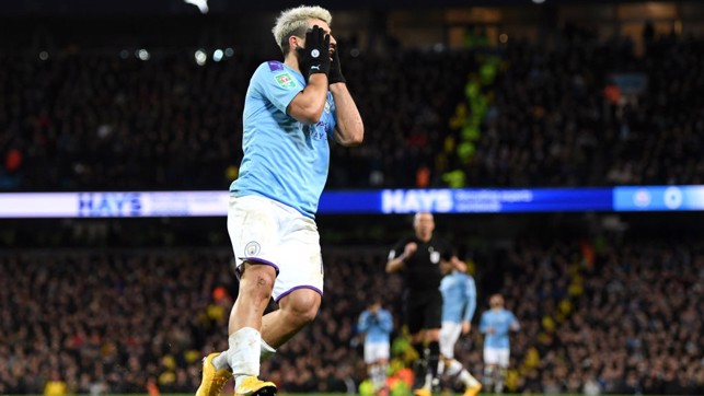 DEJA VU : Aguero reacts as his clever finish is ruled out for offside with six minutes remaining.