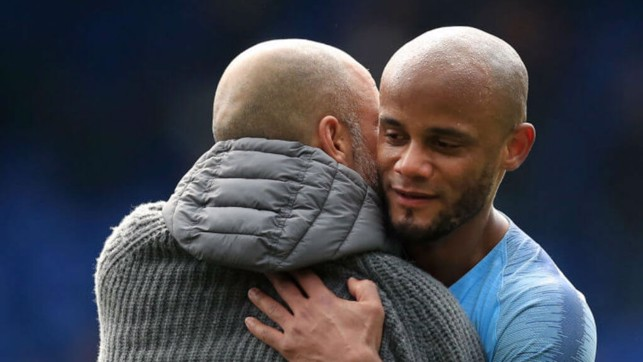 PEP AND KOMPANY : The manager and the captain celebrate the win.