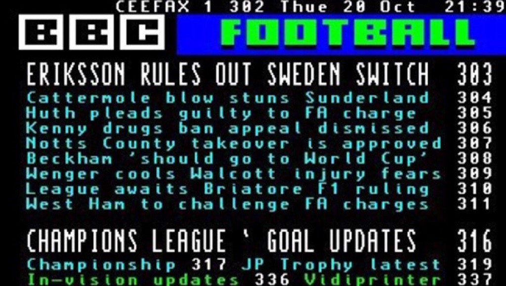 CEEFAX : BBC's live updates pages