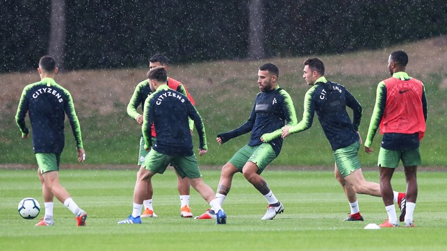 TRAINING IN THE RAIN : Gearing up for the Gunners.