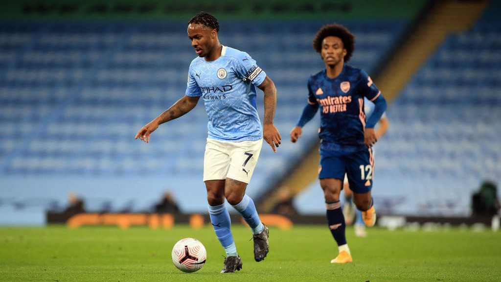 LEADING MAN: Raheem Sterling in action
