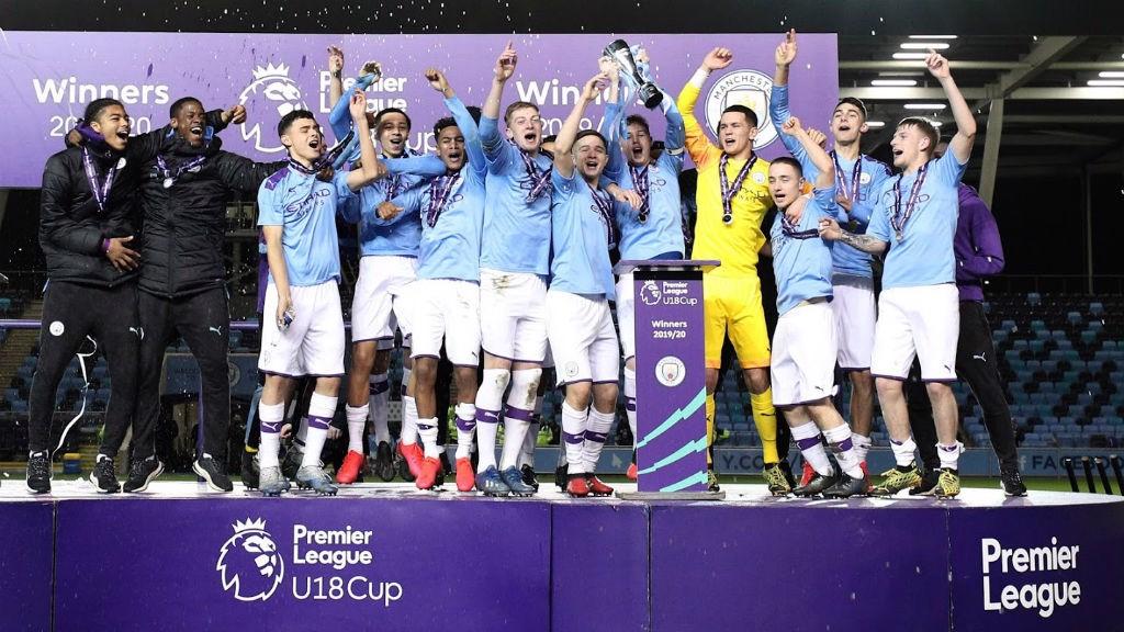 SILVA SALVO: Cole Palmer lifts the Under 18 Premier League Cup aloft