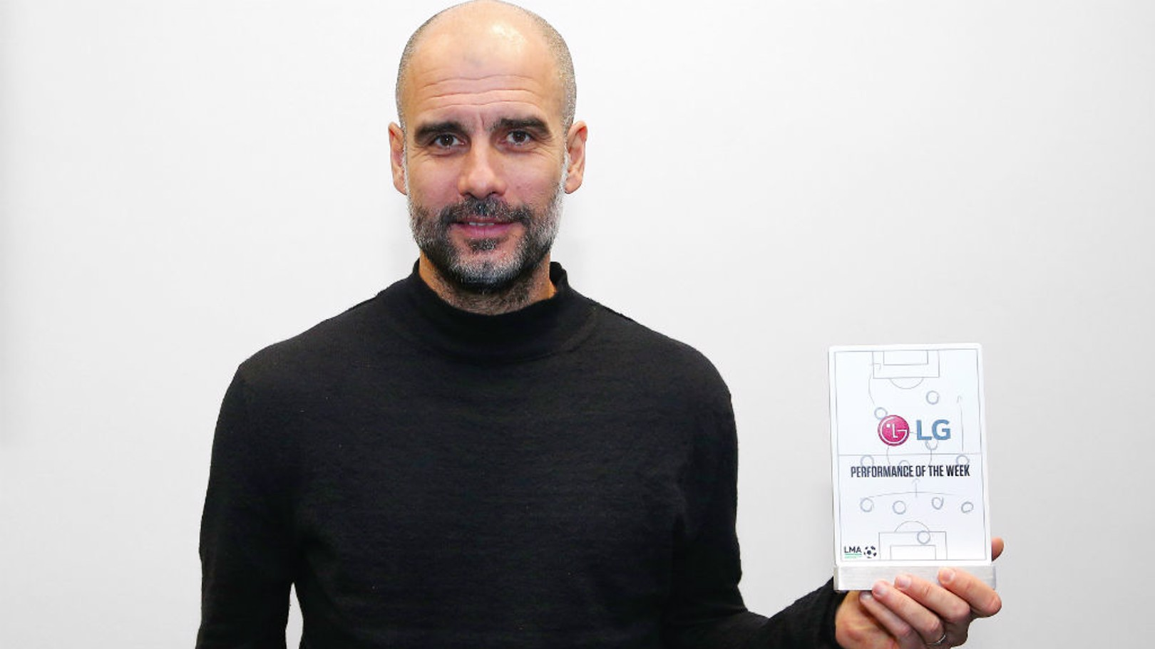 AWARD: Pep was on hand to receive the LG Performance of the Week trophy