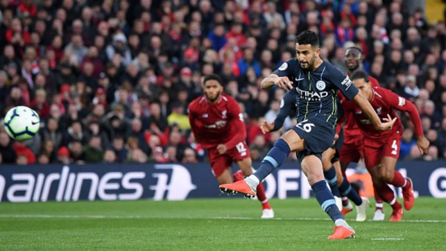 GOLDEN OPPORTUNITY : Riyad Mahrez hits a late penalty over the bar at Anfield