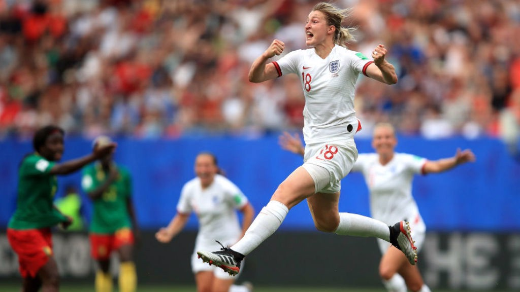 JUMPING FOR JOY : Ellen White celebrates after doubling England's lead against Cameroon