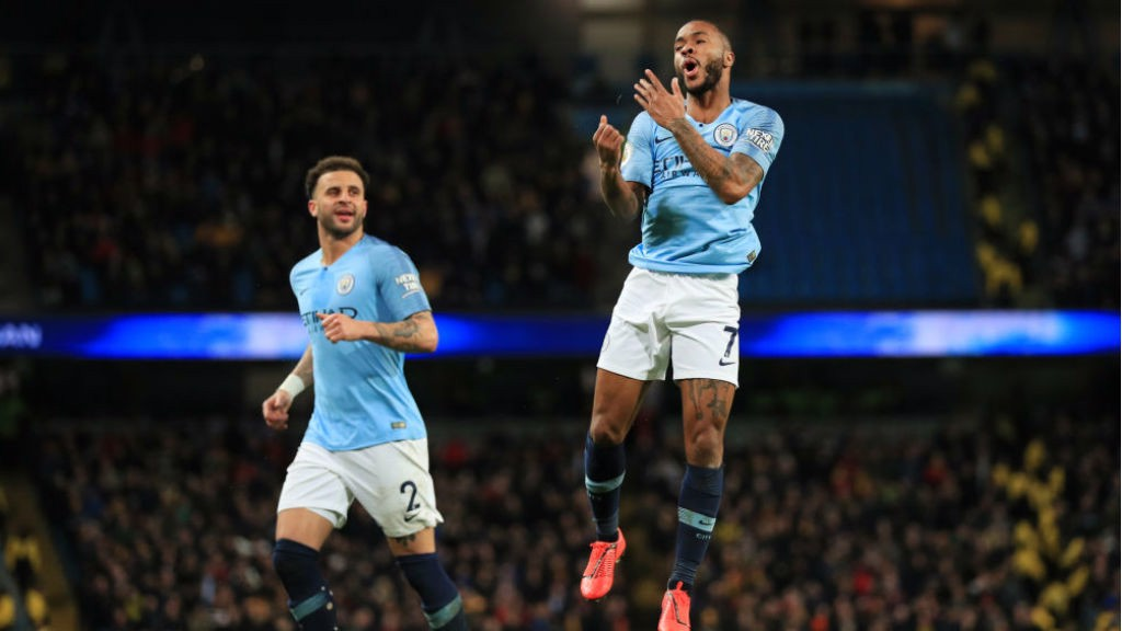 JUMPING FOR JOY : Raheem celebrates after sealing his hat-trick