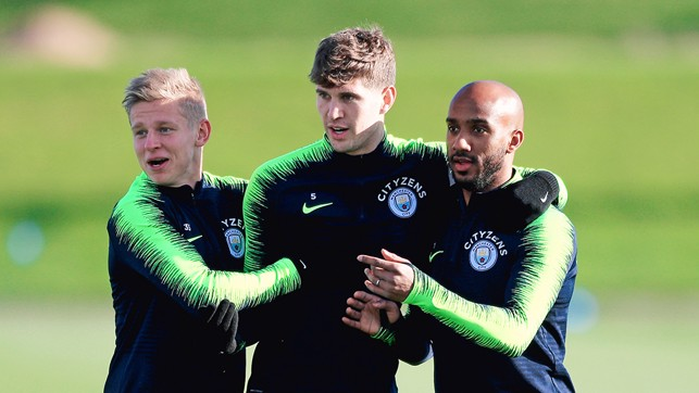 EYES ON THE PRIZE : Oleksandr Zinchenko, John Stones and Fabian Delph step up preparations ahead of our Carabao Cup tie against Fulham