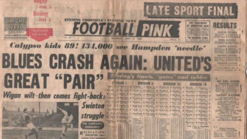 Terbitan Manchester Evening Chronicle Football Pink pasca perang