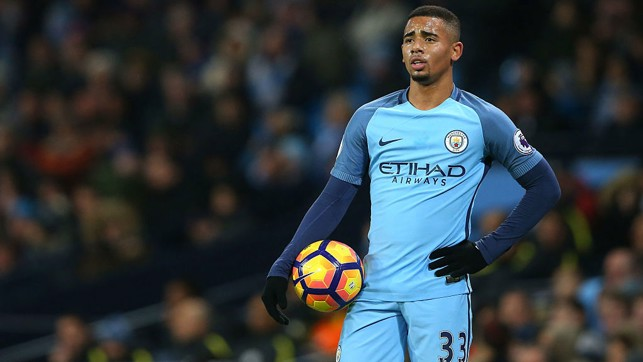 DEBUT : Gabriel's first game in a City shirt v Tottenham in January 2017.