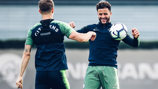 FUN AND GAMES : Kyle Walker having a ball!