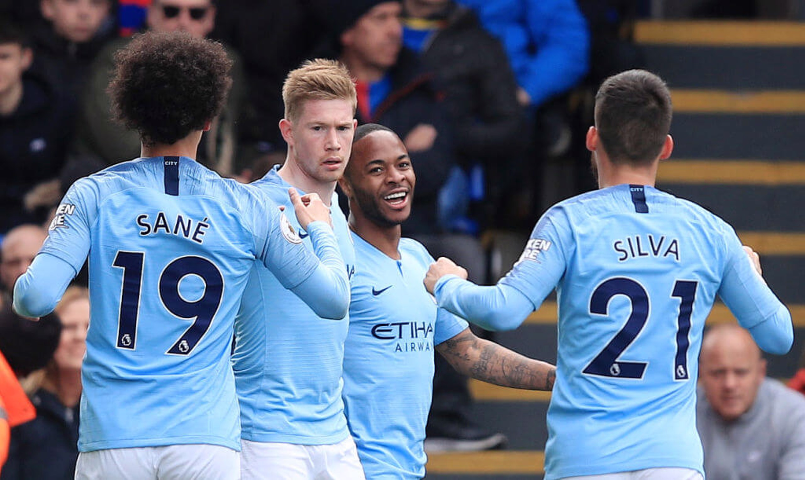 GOOD TIMES: Raheem Sterling celebrates opening the scoring for City.