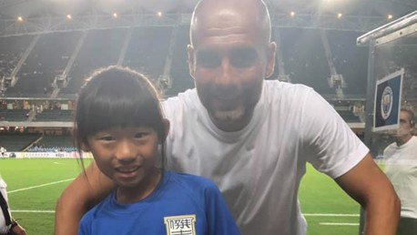 FUTURE STAR?: Jane met Pep Guardiola after watching Kitchee v City