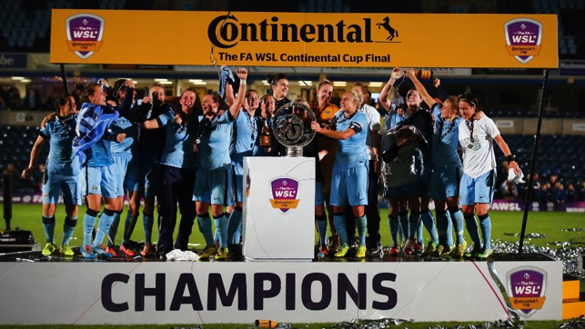 PERFECT START : Celebrating our first piece of major silverware - the Continental Tyres Cup - in our first season in the top-flight