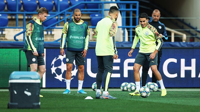 IN THE THICK OF IT : Eric Garcia goes through his paces along with Kevin De Bruyne, Kyle Walker and Nicolas Otamendi