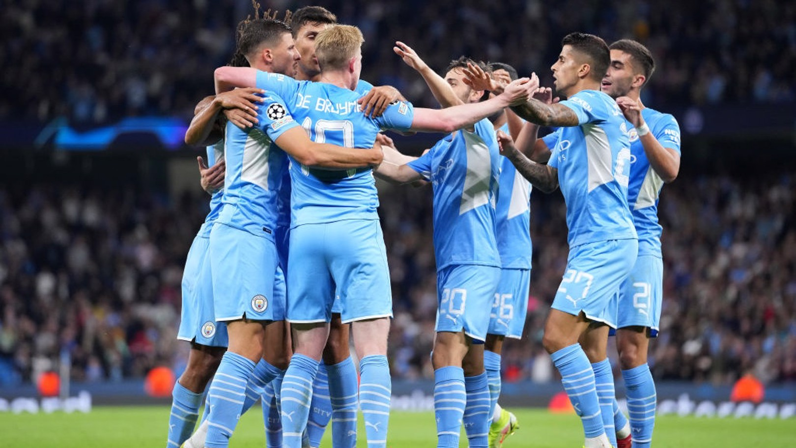 CENTRE OF ATTENTION: All hail KDB after his superb assist.