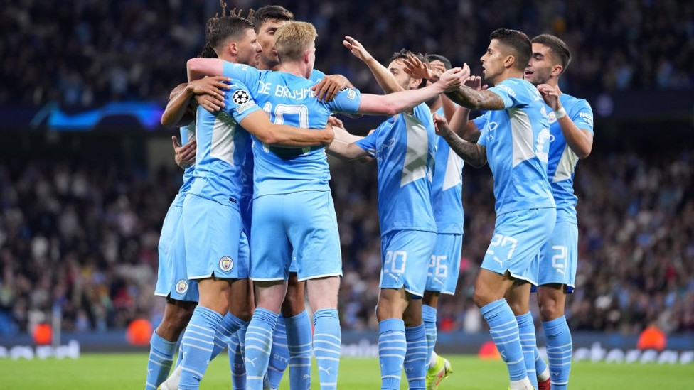 CENTRE OF ATTENTION : All hail KDB after his superb assist.