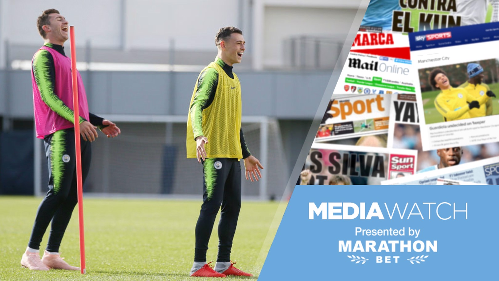 PAPER TALK: Phil Foden and Aymeric Laporte have been speaking to the media.