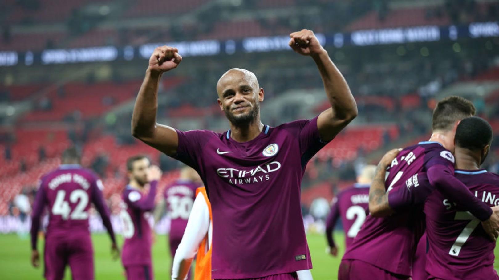 WEMBLEY WONDERS: Flashback to last season and Vincent Kompany celebrates after City's 3-1 win against Tottenham at Wembley