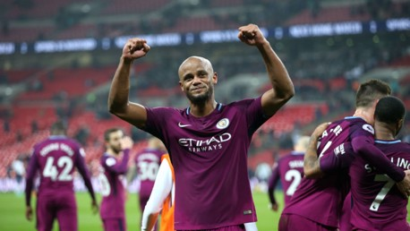 WEMBLEY WONDERS: Flashback to last season and Vincent Kompany celebrates after City's 3-1 win against Tottenham at Wembley