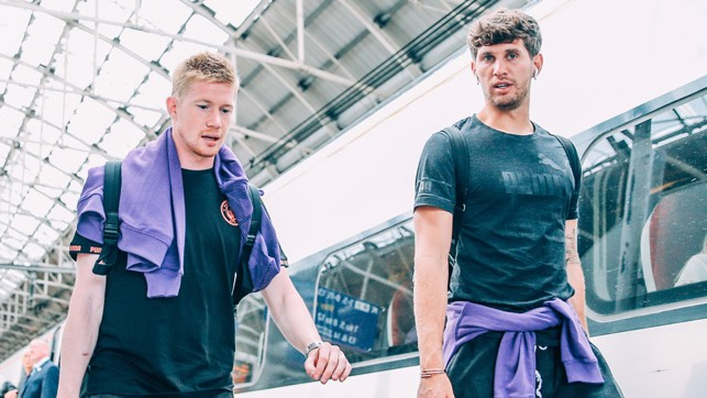 TWO'S COMPANY : Kevin De Bruyne and John Stones prepare for the journey to the capital
