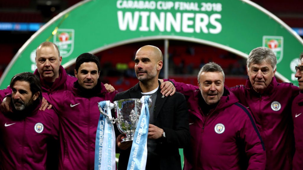 UP FOR THE CUP:  Pep and his coaching team savour our Carabao Cup final success