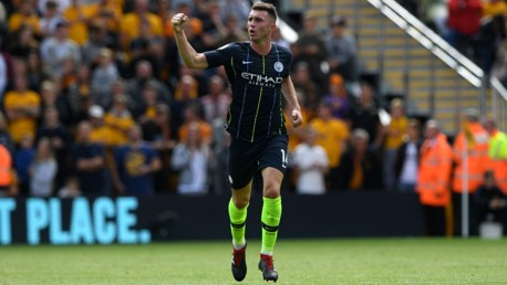 LEVEL BEST: Aymeric Laporte celebrates after heading home his first goal for the club
