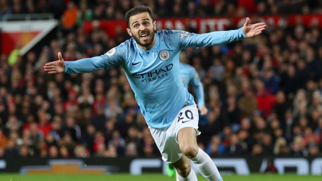 GOALDEN BOY : Bernardo Silva was on the scoresheet once again to draw first blood in the 178th Manchester Derby