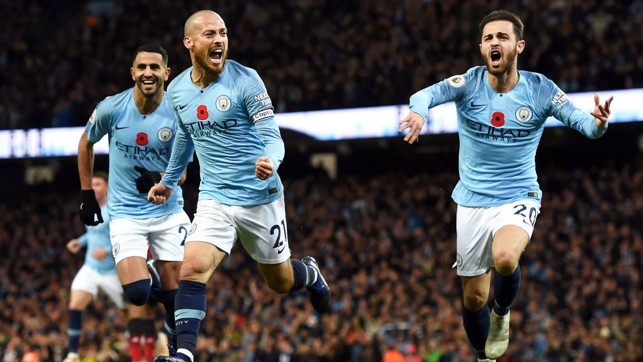 WHAT A FEELING : David Silva starts the celebrations after his opener