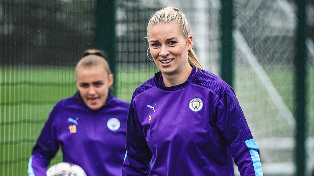 EAGER TO START : Gemma Bonner leads the way out to training