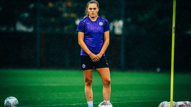 LEARNING : Youngster Katie Bradley watches on intently