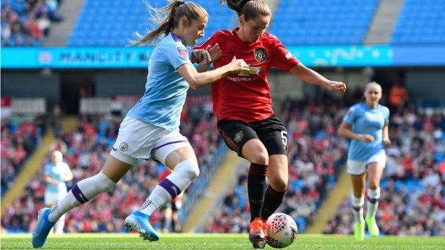 A NEW RIVALRY : Janine Beckie matches up against former City player Abbie McManus