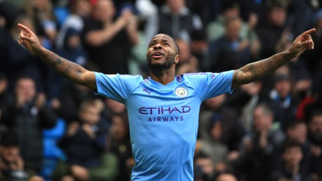 RAZ-MA-TAZ!: Raheem Sterling celebrates his 13th goal of the season