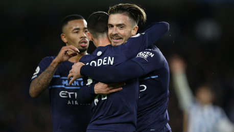 ENGLISH CONNECTION: Grealish and Foden celebrate the second goal!