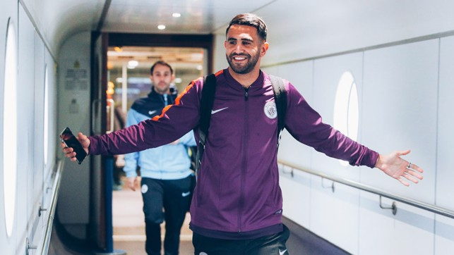 MAN OF THE MOMENT : A happy Riyad Mahrez, on the back of his first City goal at the Etihad Stadium
