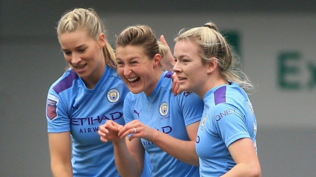 ALL SMILES : Ellen White celebrates after opening the scoring for City