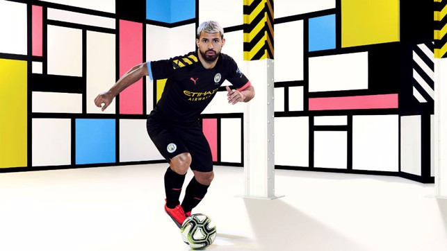 ACTION STATIONS : Sergio Aguero is all revved up in City's new 2019-10 PUMA away kit