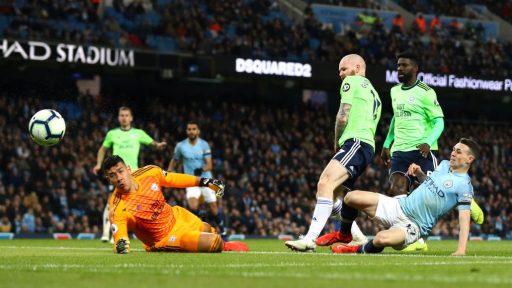 SO CLOSE : Phil Foden is denied by Cardiff keeper Neil Etheridge
